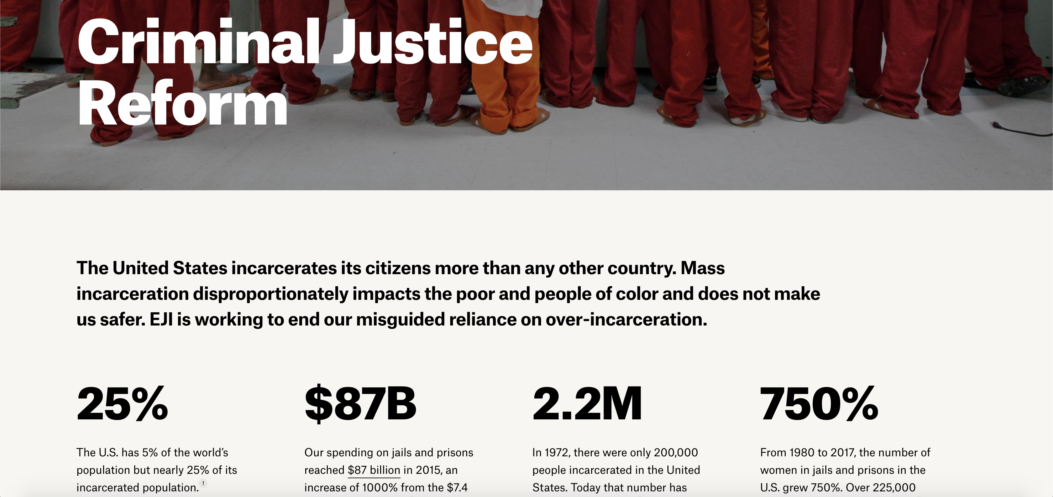 The opening paragraph on the Criminal Justice Reform page on the EJI website