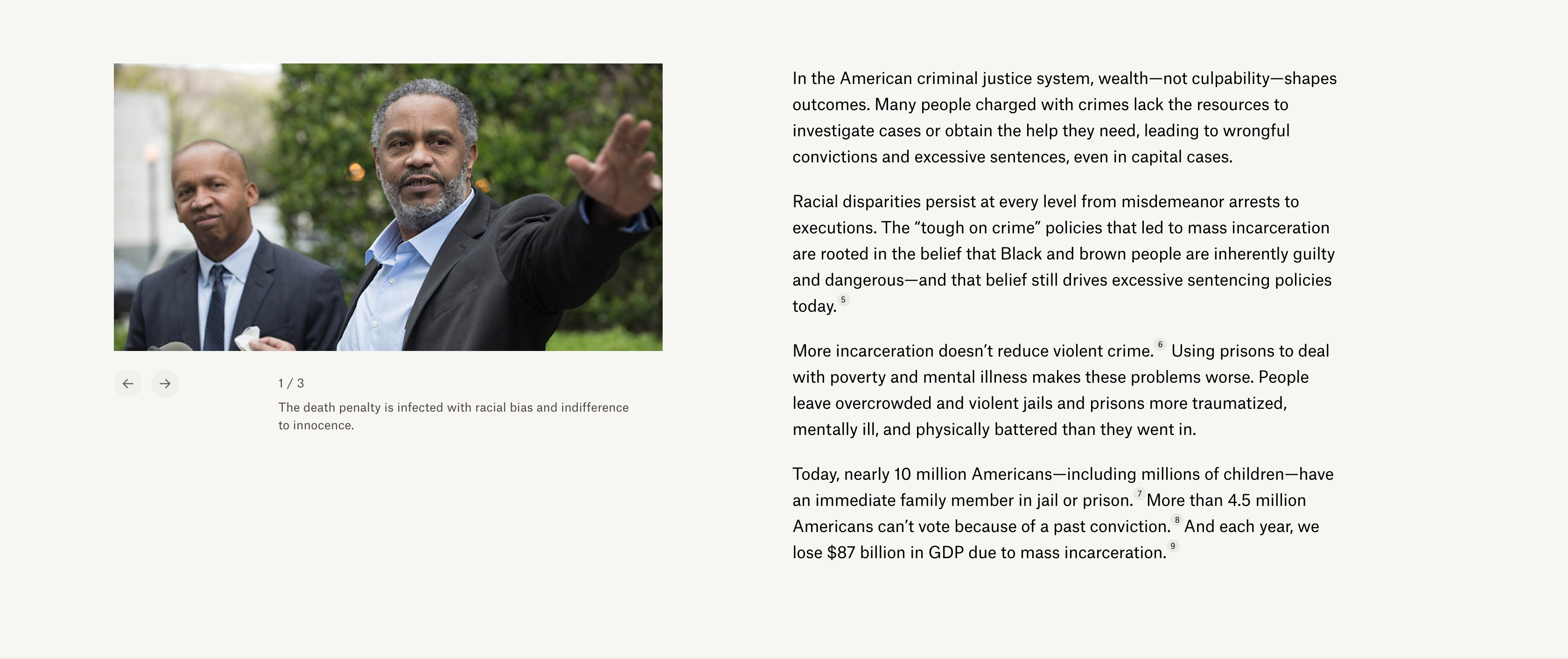 The Equal Justice Initiative uses photos of real people throughout their website to explain their issues